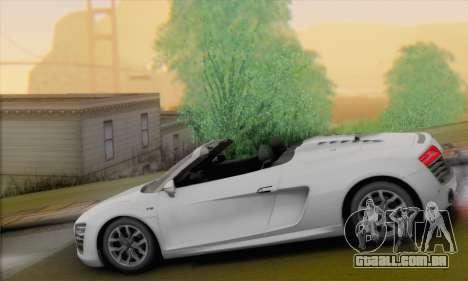 Audi R8 V10 Spyder 2014 para GTA San Andreas esquerda vista