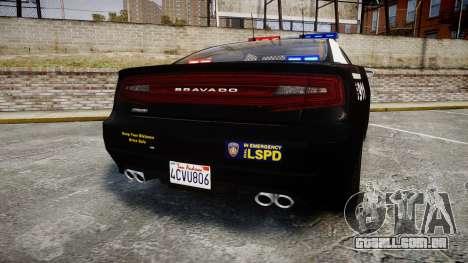 GTA V Bravado Buffalo LS Police [ELS] para GTA 4 traseira esquerda vista