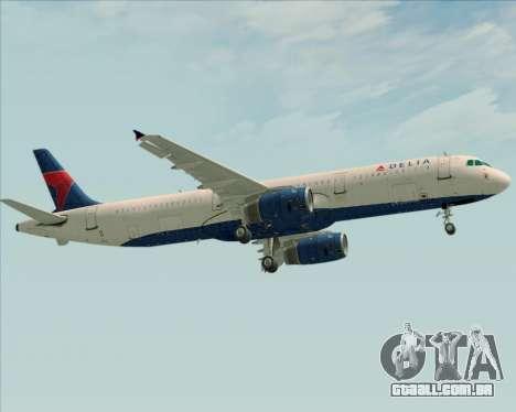 Airbus A321-200 Delta Air Lines para GTA San Andreas vista traseira