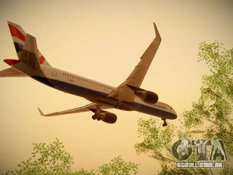Boeing 757-236 British Airways para GTA San Andreas vista interior