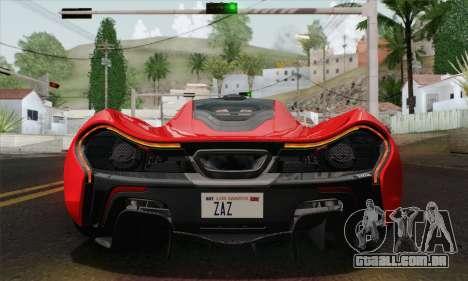 McLaren P1 HQ para GTA San Andreas vista interior