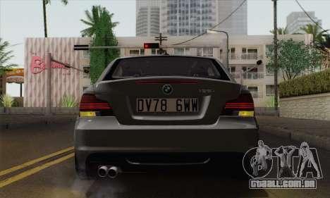 BMW 135i 2009 para GTA San Andreas vista traseira