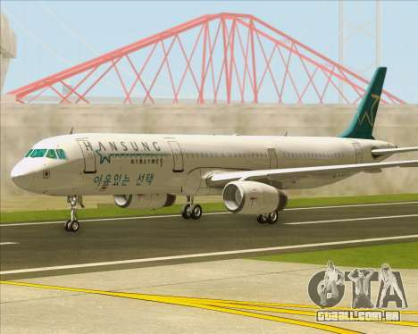 Airbus A321-200 Hansung Airlines para GTA San Andreas traseira esquerda vista