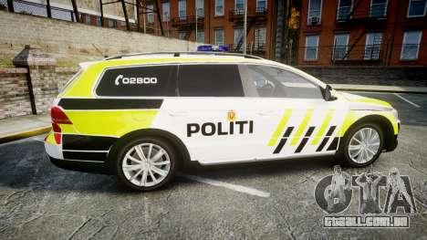 Volkswagen Passat 2014 Marked Norwegian Police para GTA 4 esquerda vista