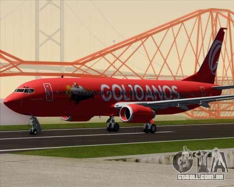 O Boeing 737-800 da Gol Transportes Aéreos para GTA San Andreas traseira esquerda vista