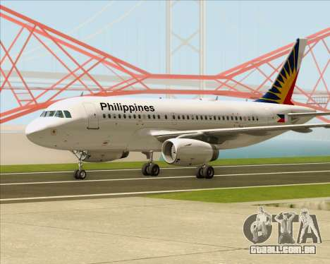 Airbus A319-112 Philippine Airlines para GTA San Andreas esquerda vista