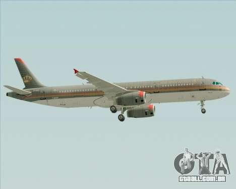 Airbus A321-200 Royal Jordanian Airlines para GTA San Andreas vista superior