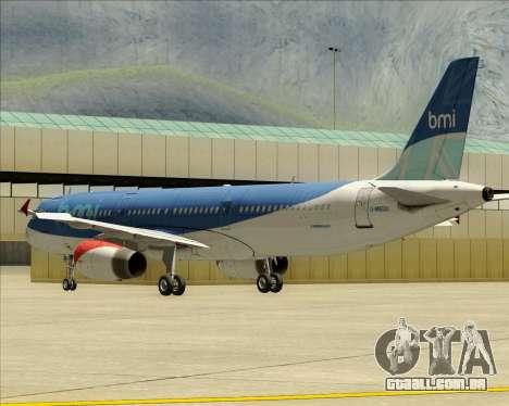 Airbus A321-200 British Midland International para GTA San Andreas vista inferior