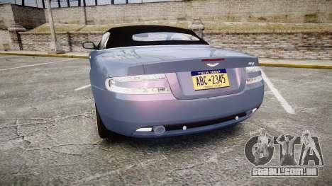 Aston Martin DB9 Volante 2005 VK Edition para GTA 4 traseira esquerda vista