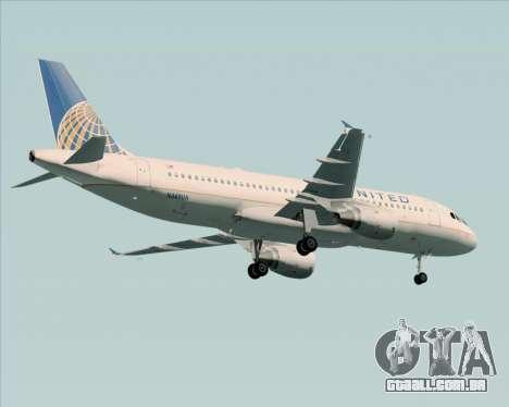 Airbus A320-232 United Airlines para GTA San Andreas vista inferior