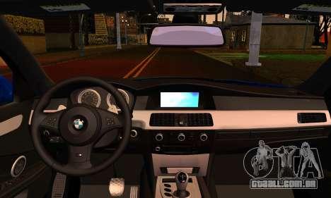 BMW M5 E60 2006 para GTA San Andreas traseira esquerda vista