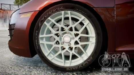 Audi R8 2010 Rotiform BLQ para GTA 4 vista de volta
