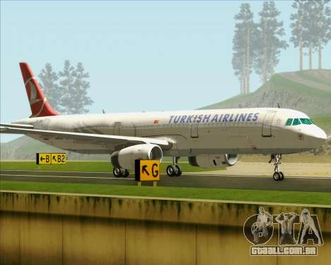 Airbus A321-200 Turkish Airlines para GTA San Andreas vista interior