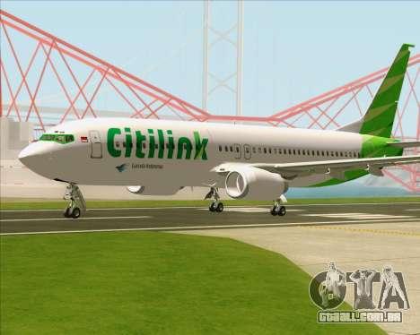 Boeing 737-800 Citilink para GTA San Andreas vista traseira