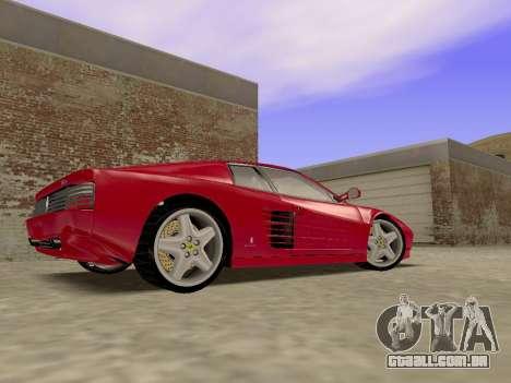 Ferrari 512TR para GTA San Andreas traseira esquerda vista