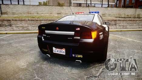 GTA V Cheval Fugitive LS Police [ELS] para GTA 4 traseira esquerda vista