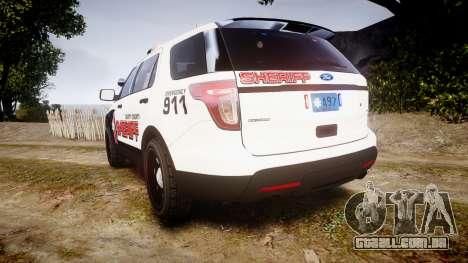 Ford Explorer 2013 LC Sheriff [ELS] para GTA 4 traseira esquerda vista