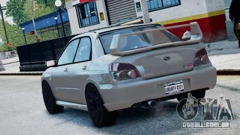 Subaru Impreza WRX STi para GTA 4 esquerda vista