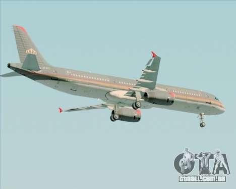 Airbus A321-200 Royal Jordanian Airlines para GTA San Andreas vista traseira