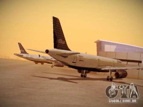 Airbus A321-232 jetBlue Woo-Hoo jetBlue para GTA San Andreas traseira esquerda vista
