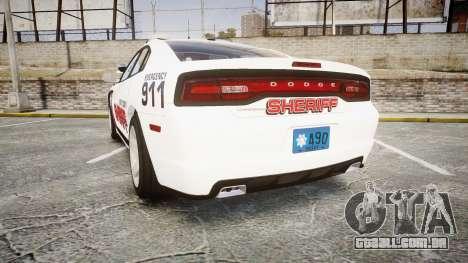 Dodge Charger RT 2013 LC Sheriff [ELS] para GTA 4 traseira esquerda vista