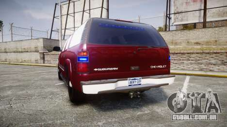 Chevrolet Suburban Undercover 2003 Black Rims para GTA 4 traseira esquerda vista