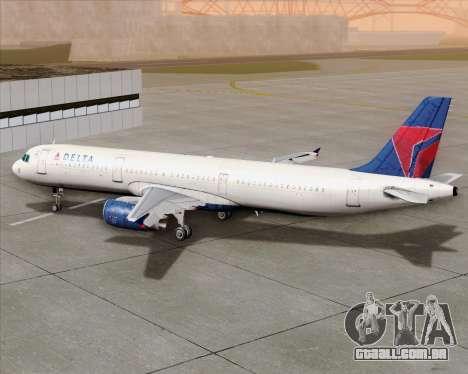 Airbus A321-200 Delta Air Lines para GTA San Andreas vista superior