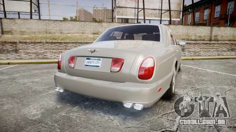 Bentley Arnage T 2005 Rims3 para GTA 4 traseira esquerda vista