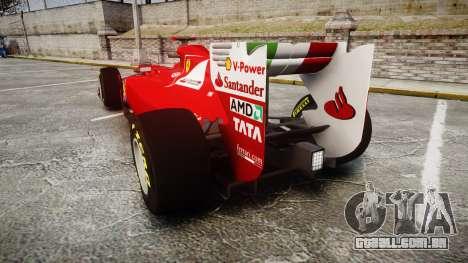 Ferrari 150 Italia Alonso para GTA 4 traseira esquerda vista