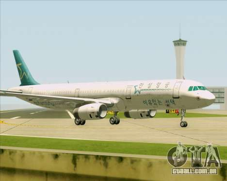 Airbus A321-200 Hansung Airlines para GTA San Andreas vista inferior