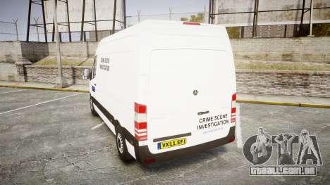 Mercedes-Benz Sprinter 311 cdi London Police para GTA 4 traseira esquerda vista