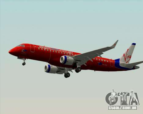 Embraer E-190 Virgin Blue para GTA San Andreas traseira esquerda vista