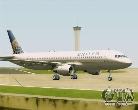 Airbus A320-232 United Airlines para GTA San Andreas traseira esquerda vista