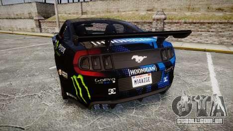 Ford Mustang GT 2014 Custom Kit PJ3 para GTA 4 traseira esquerda vista