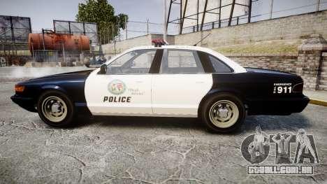 Vapid Police Cruiser GTA V LED [ELS] para GTA 4 esquerda vista