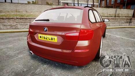 BMW 530d F11 para GTA 4 traseira esquerda vista