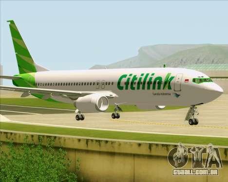 Boeing 737-800 Citilink para GTA San Andreas traseira esquerda vista