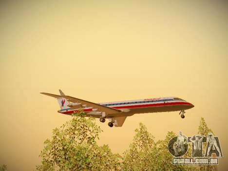 Bombardier CRJ-700 American Eagle para vista lateral GTA San Andreas