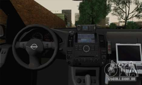 Nissan Pathfinder Policija para GTA San Andreas traseira esquerda vista