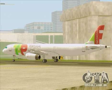 Airbus A321-200 TAP Portugal para GTA San Andreas vista inferior