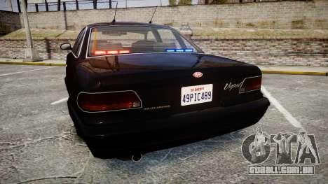 GTA V Vapid Stanier FIB [ELS] para GTA 4 traseira esquerda vista