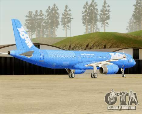 Airbus A321-200 Zoom Airlines para GTA San Andreas traseira esquerda vista