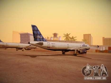 Airbus A321-232 jetBlue Blue Kid in the Town para GTA San Andreas traseira esquerda vista