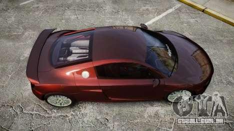 Audi R8 2010 Rotiform BLQ para GTA 4 vista direita
