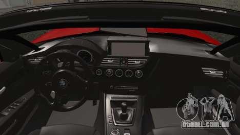 BMW Z4 sDrive28i 2012 Racing para GTA San Andreas traseira esquerda vista