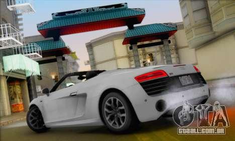 Audi R8 V10 Spyder 2014 para GTA San Andreas vista direita