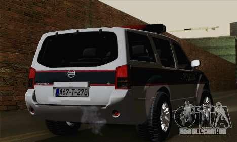 Nissan Pathfinder Policija para GTA San Andreas esquerda vista