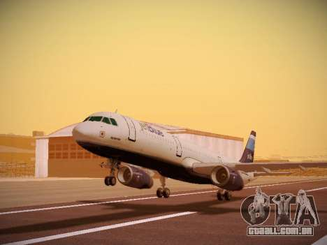 Airbus A321-232 Big Blue Bus para GTA San Andreas esquerda vista