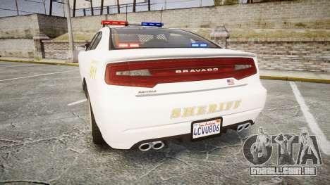 GTA V Bravado Buffalo LS Sheriff White [ELS] para GTA 4 traseira esquerda vista