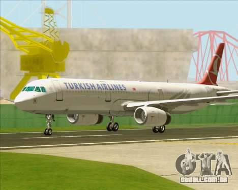 Airbus A321-200 Turkish Airlines para GTA San Andreas vista inferior